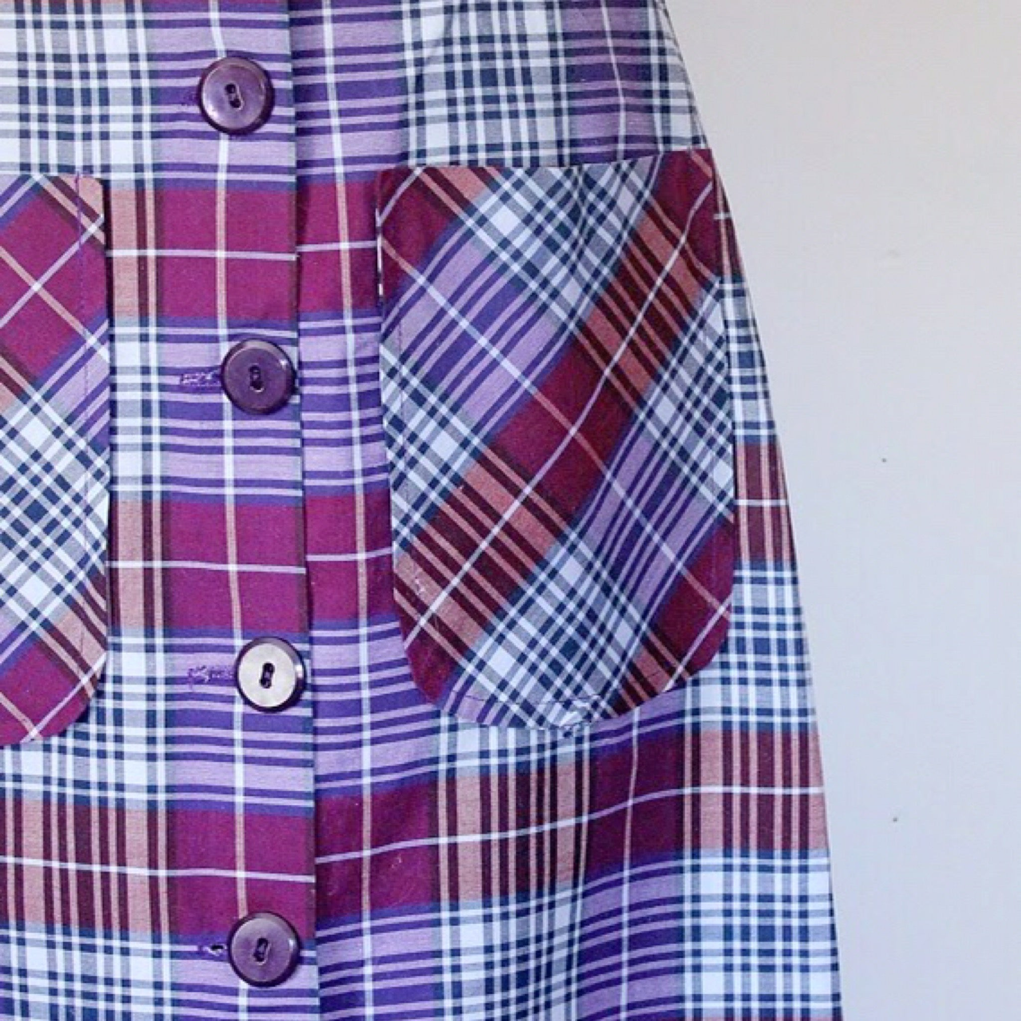 70s Purple Plaid Maxi Dress