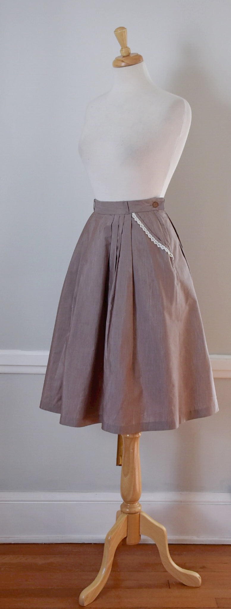 50s Vintage Taupe Pleated Cotton Skirt