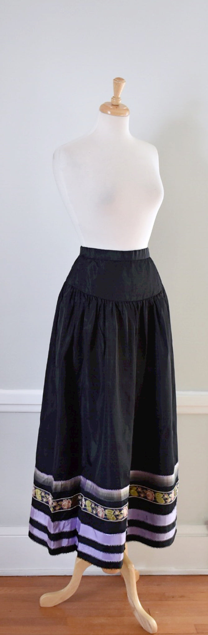 70s Vintage Drop Waist Satin Skirt