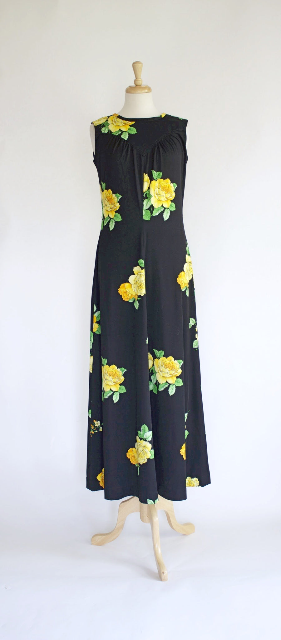 SOLD // 60s Polyester Maxi Dress / 60s Hostess Dress / 60s Dress and Jacket Set