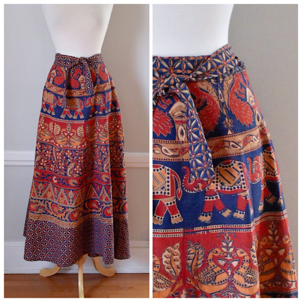70s Wrap Around India Print Skirt