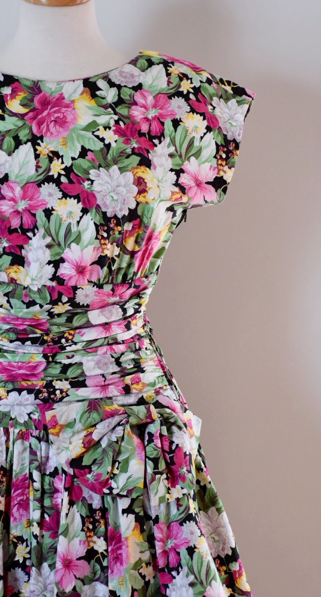 80s Vintage Floral Cotton Dress