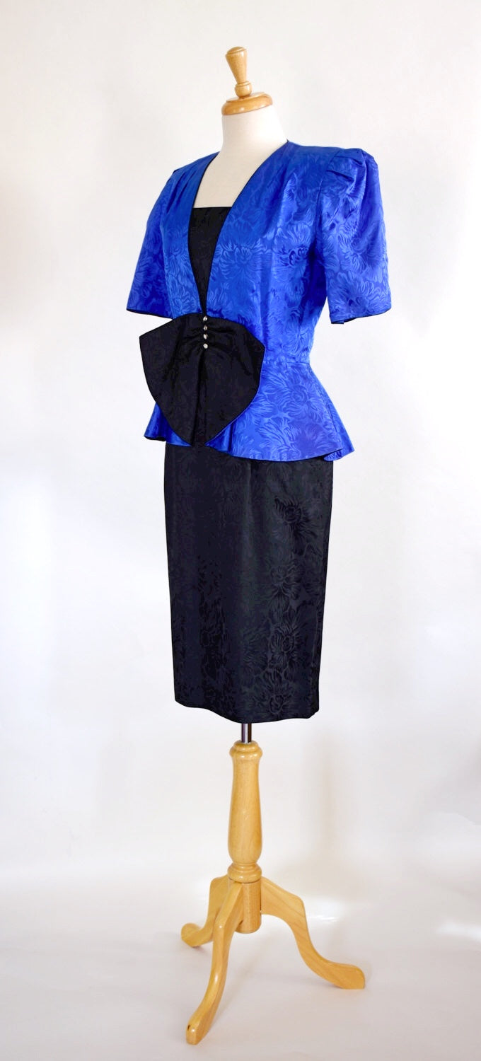 80s Glam Peplum Dress / Dress and Jacket