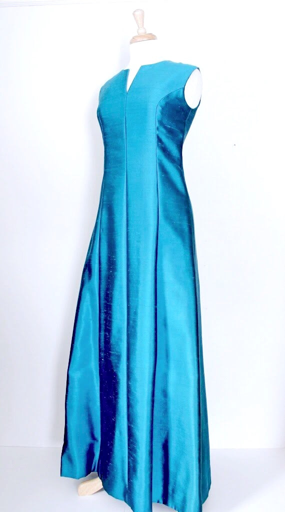 60s Teal Evening Dress
