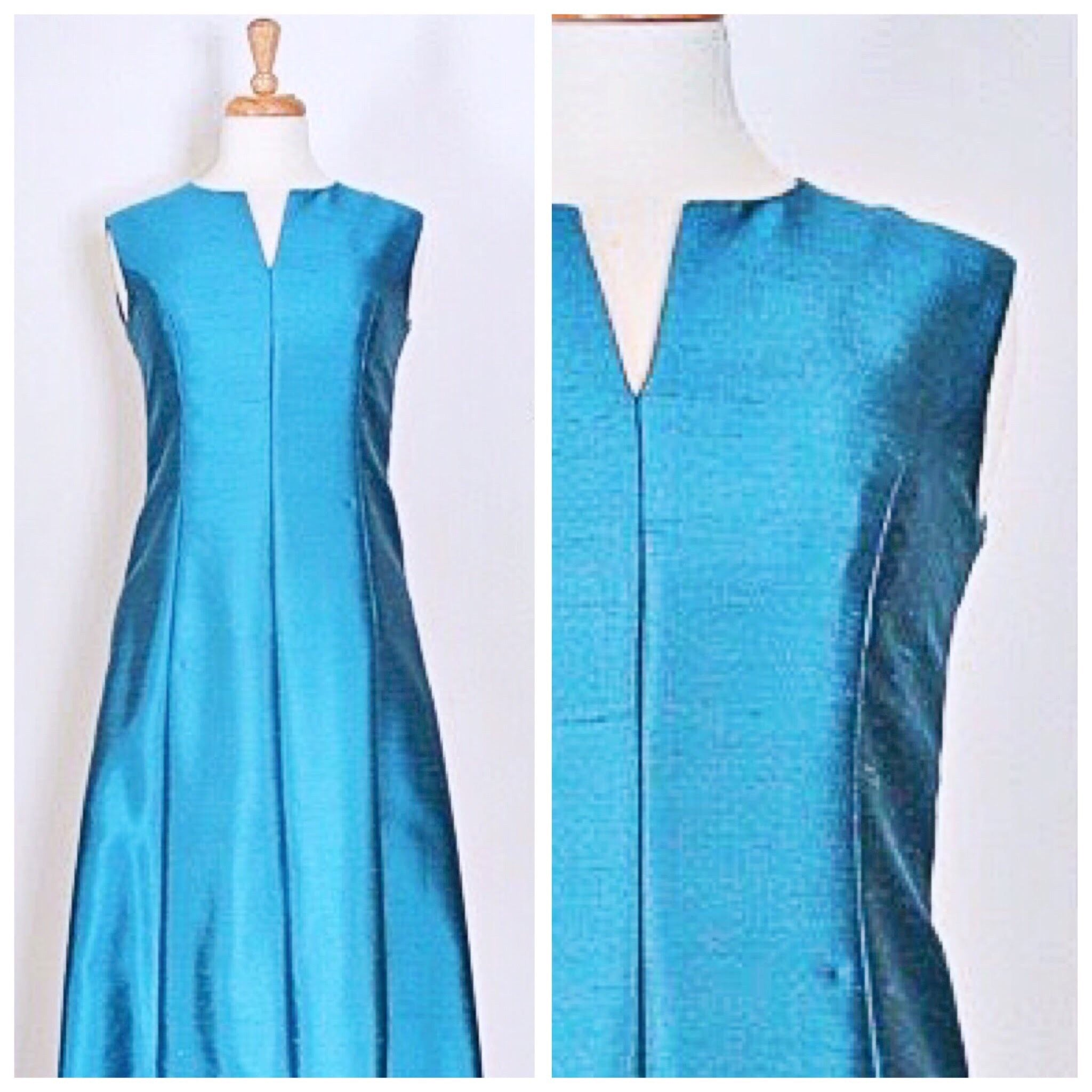 60s Teal Formal Dress