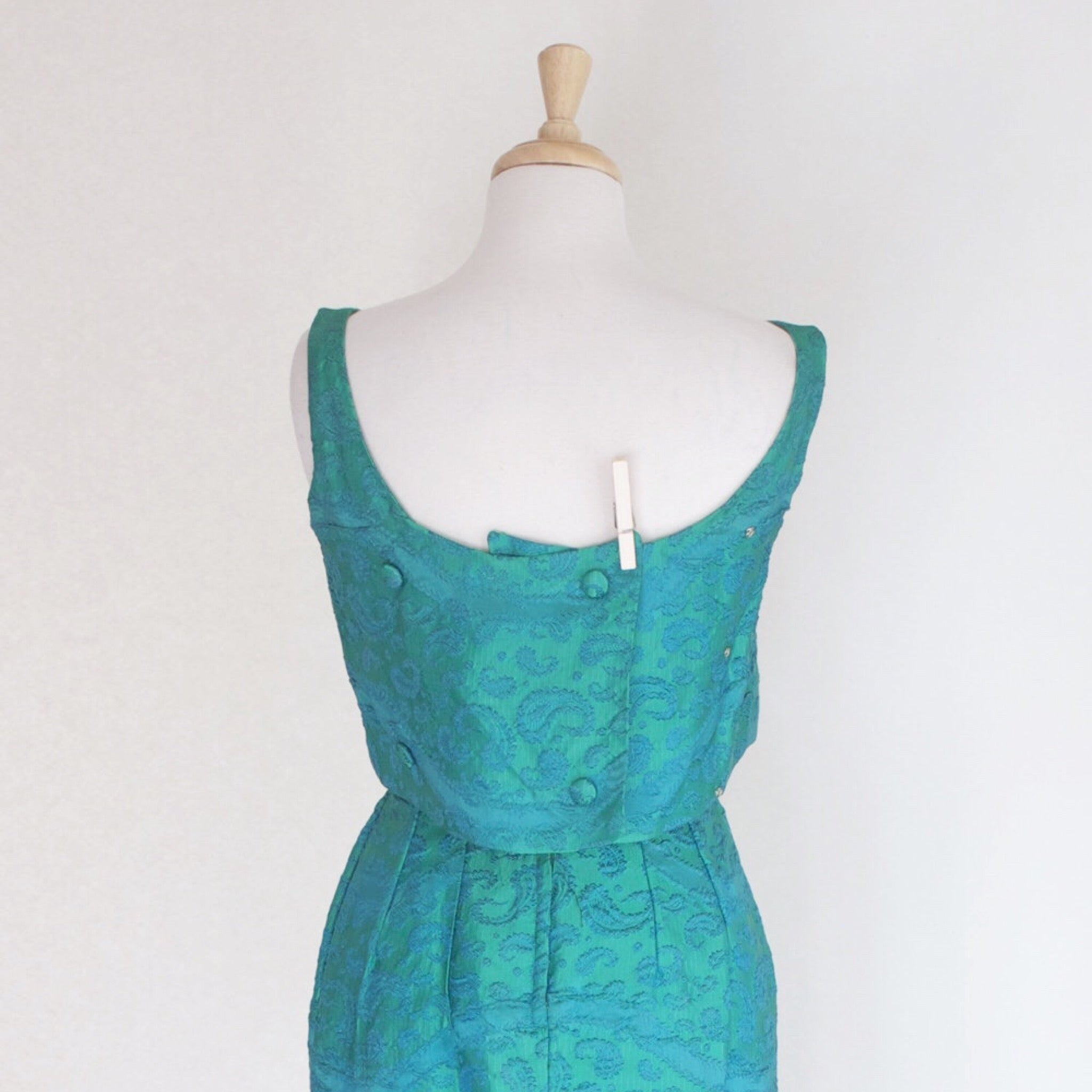60s Paisley Brocade Bombshell Dress / Mad Men Dress