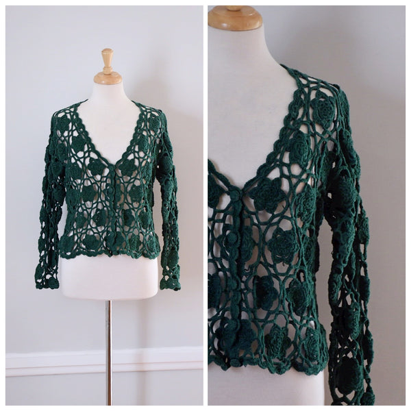 70s Lace Crocheted Sweater