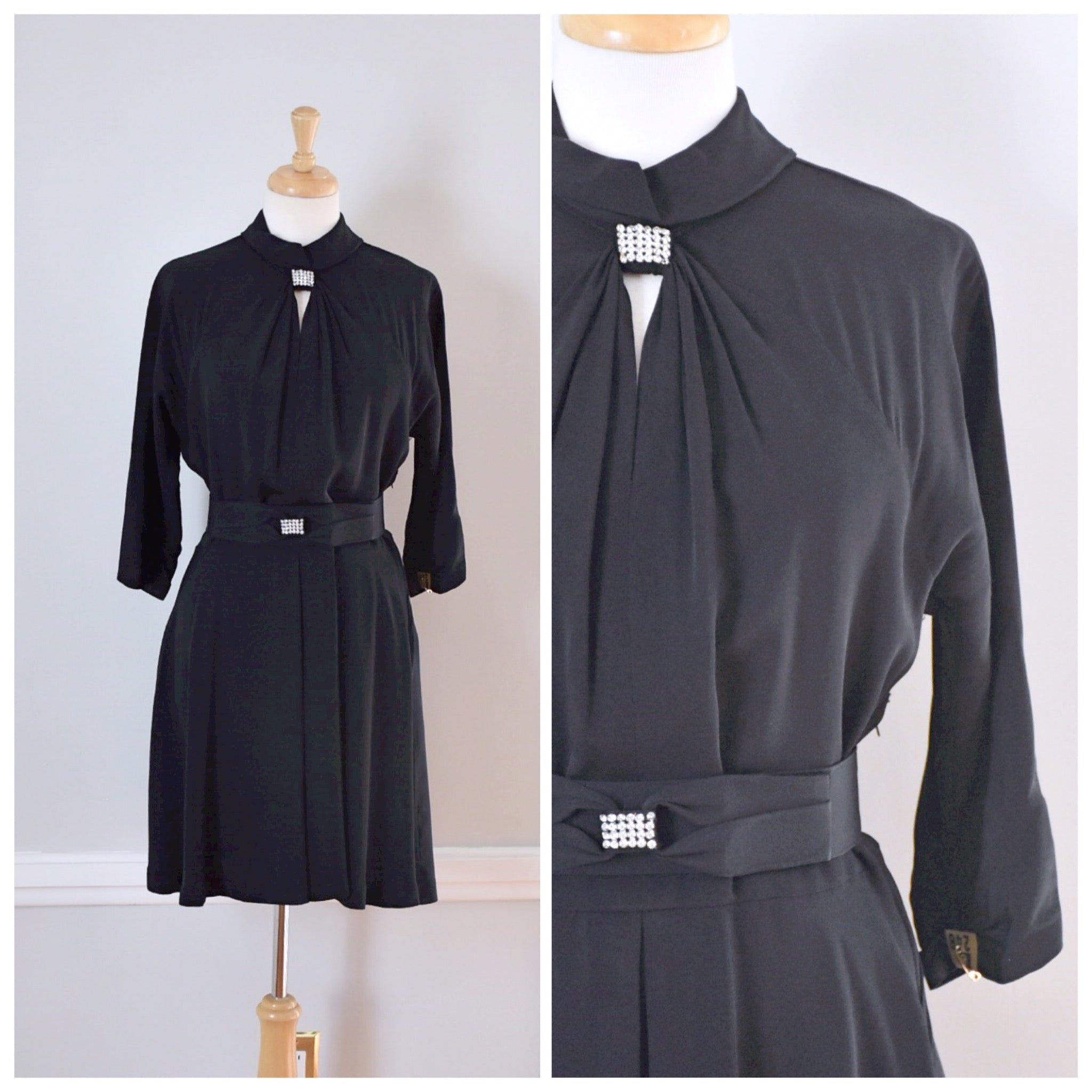 40s Vintage Black Rayon Dress