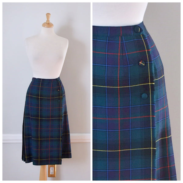 80s Tartan Plaid Midi Skirt