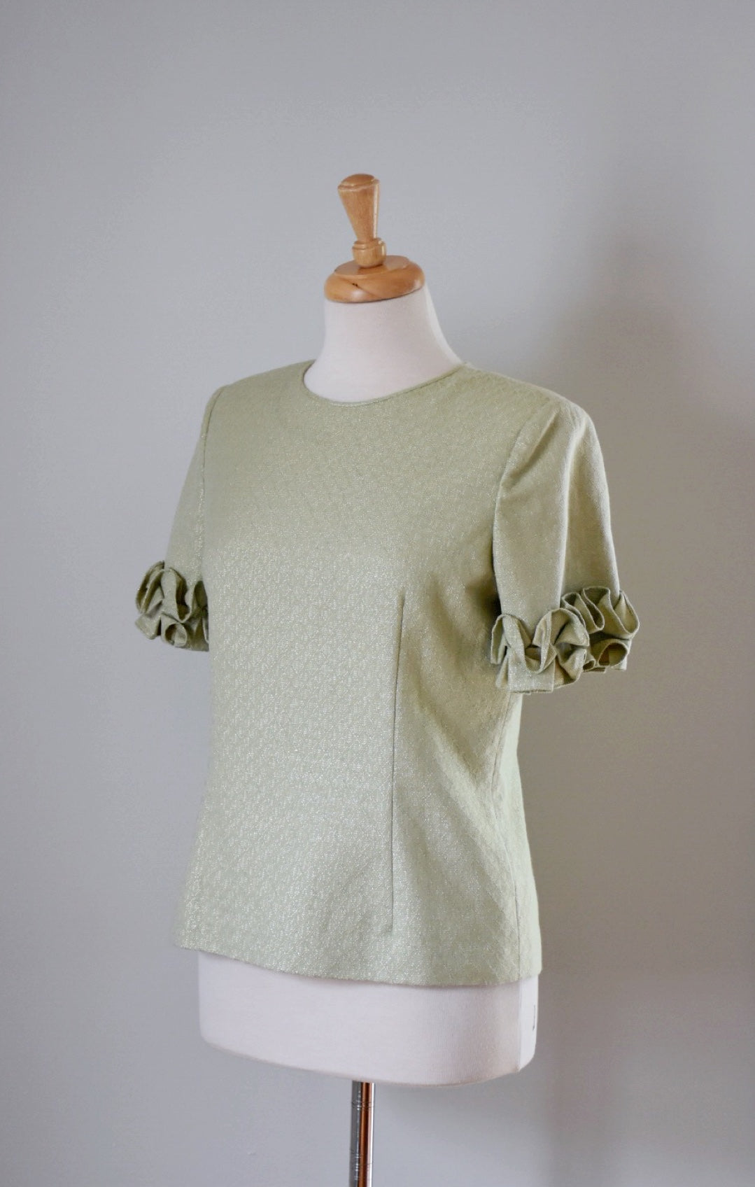 60s Green Metallic Top
