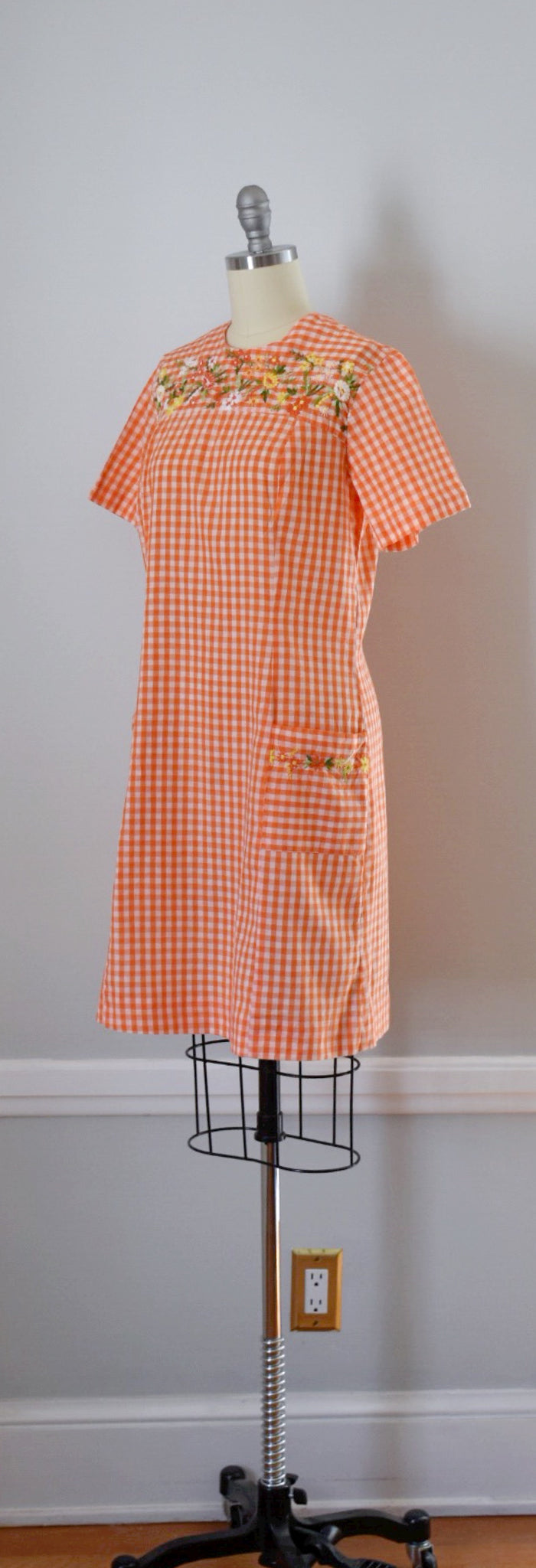 60s Vintage Gingham Shift Dress
