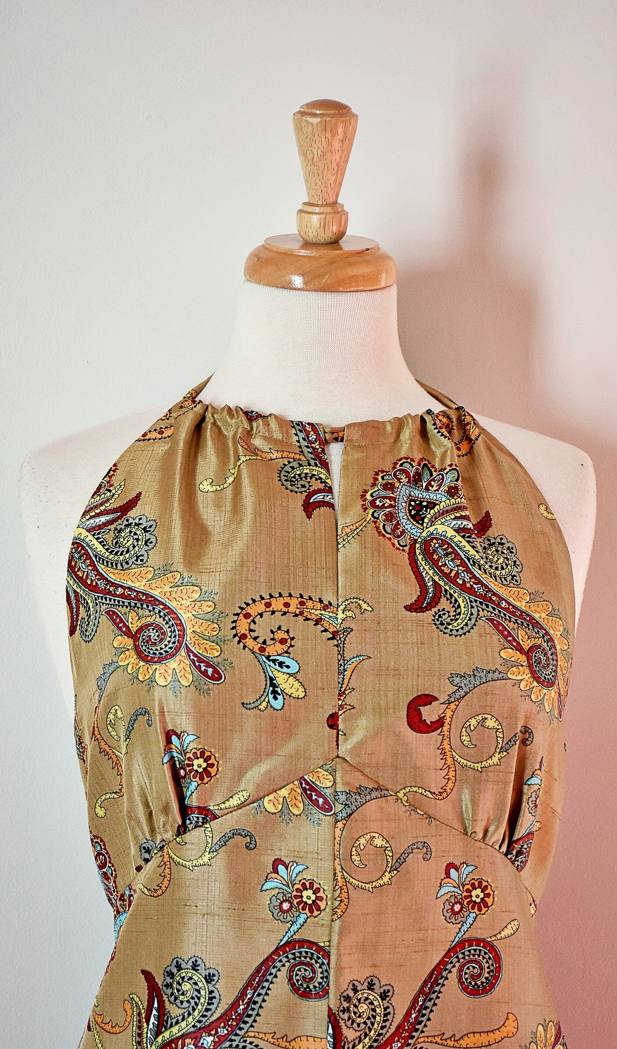 70s Silk Halter Dress