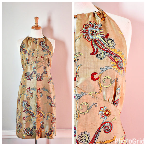70s Golden Silk Halter Dress