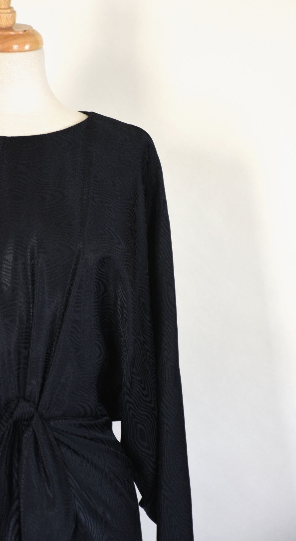 80s 90s Black Dolman Sleeve Dress