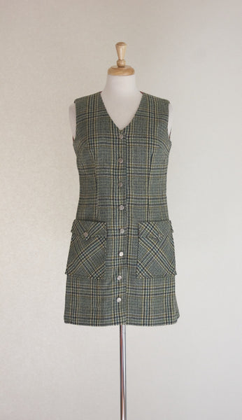 60s 70s Plaid Mini Dress / Jumper / Vest
