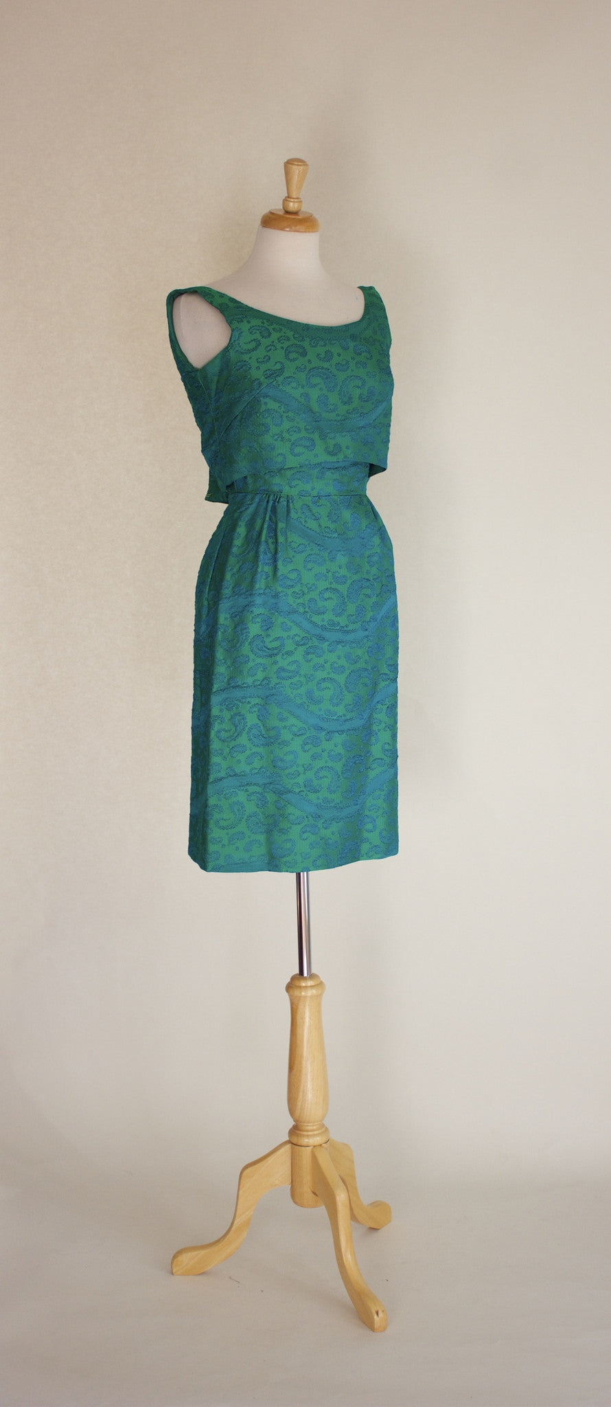 60s Paisley Brocade Bombshell Dress