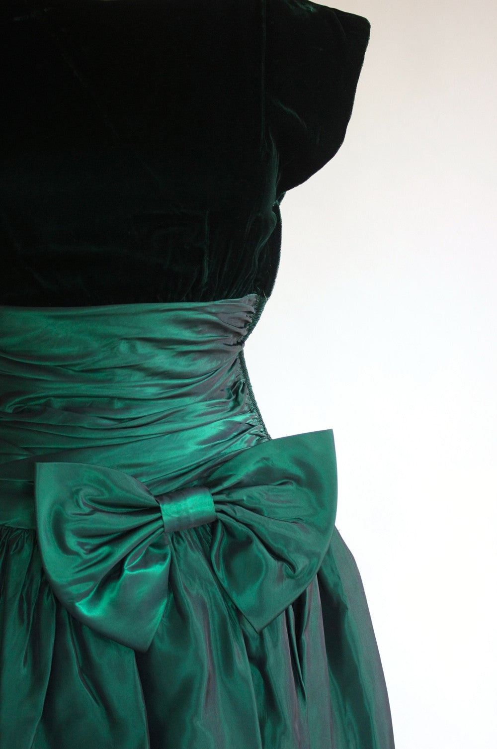 80s Glam Taffeta and Velvet Party Dress