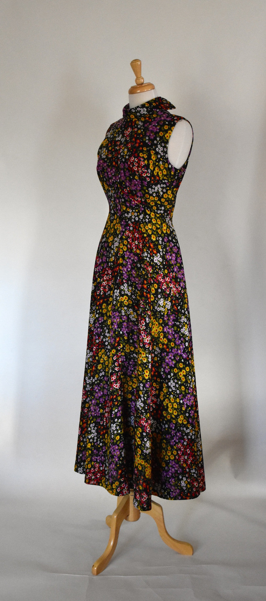 60s 70s Polyester Maxi Dress