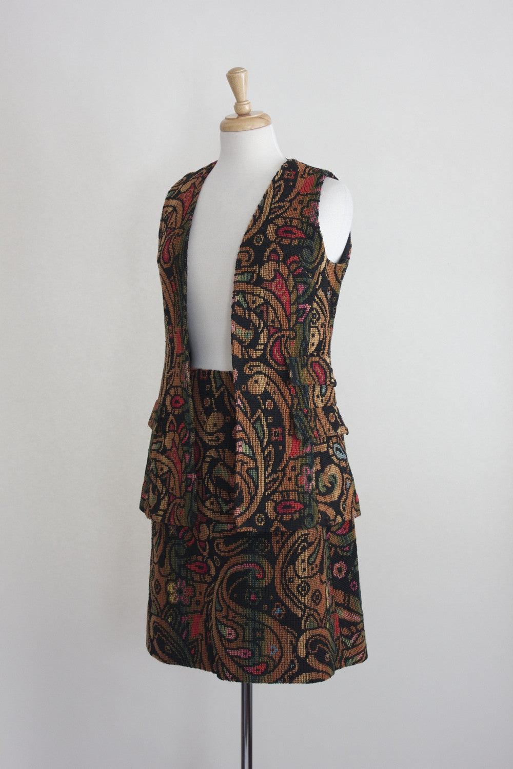 70s Tapestry Skirt and Vest Set