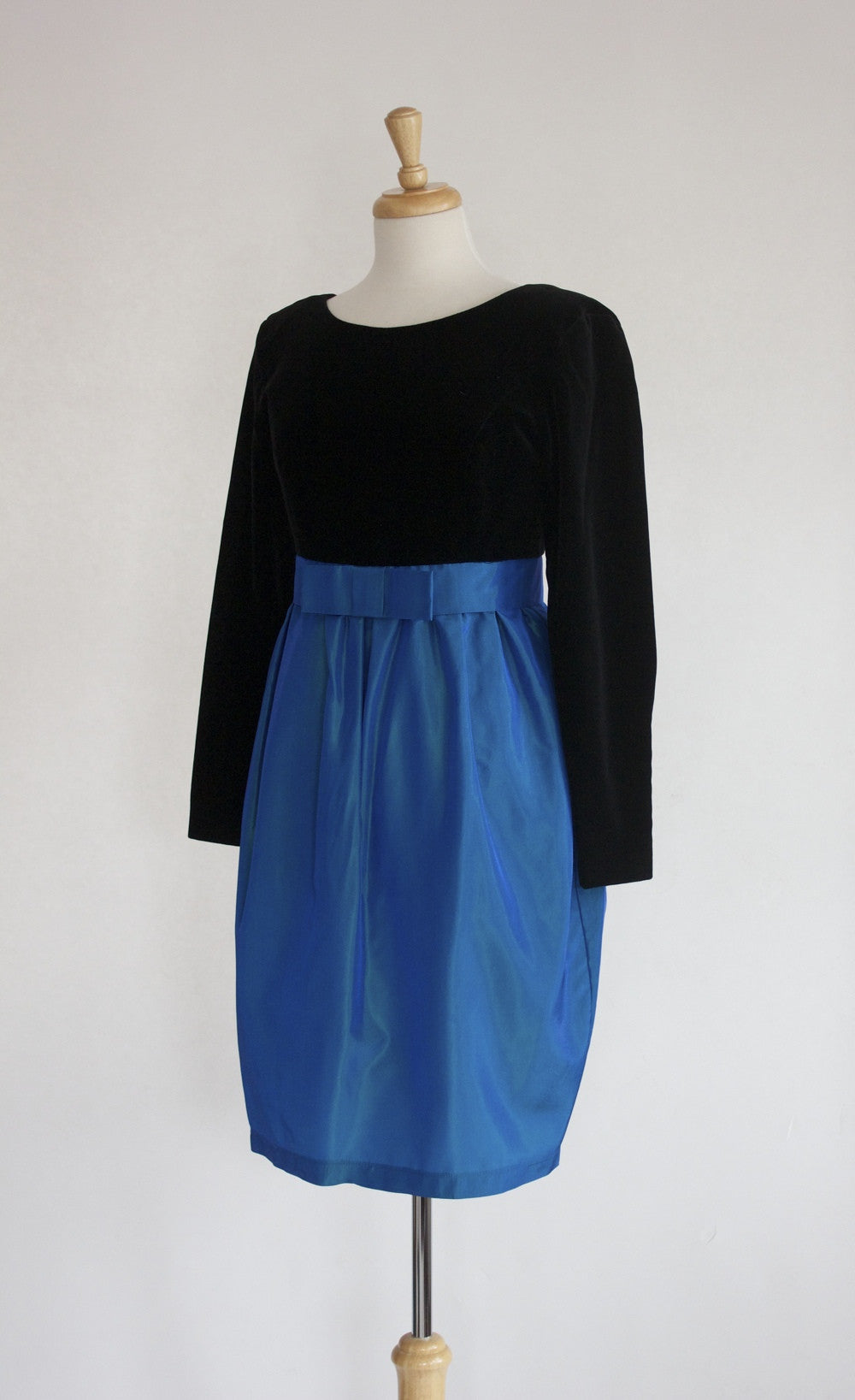 80s Laura Ashley Velvet and Taffeta Party Dress