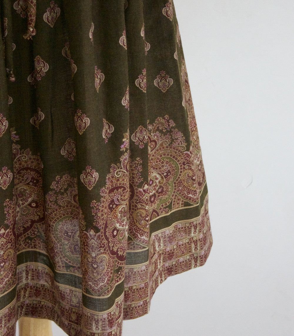 SOLD // 70s Paisley Midi Skirt