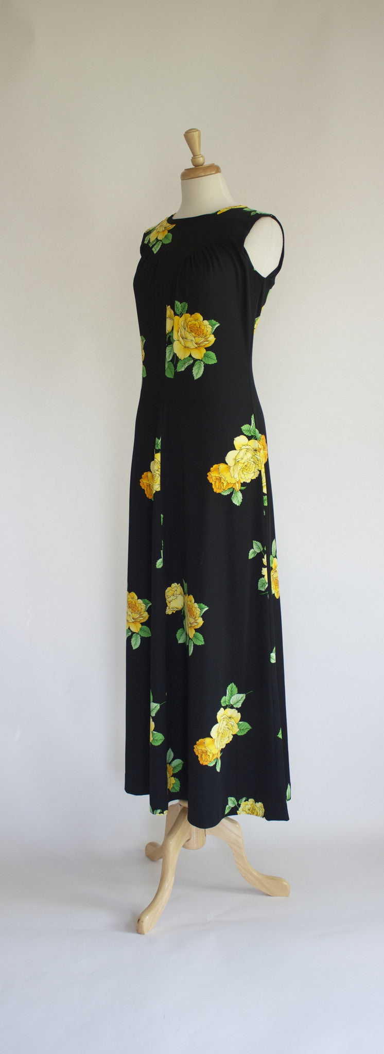 side, 60s polyester maxi dress