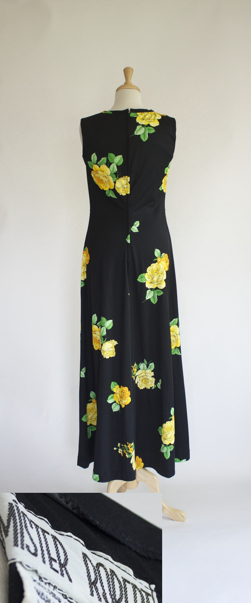 Back, 60s polyester maxi dress