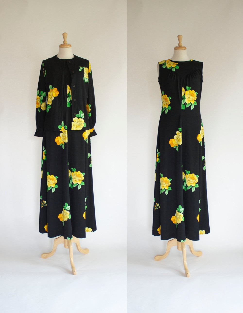 With Jacket / 60s polyester maxi dress