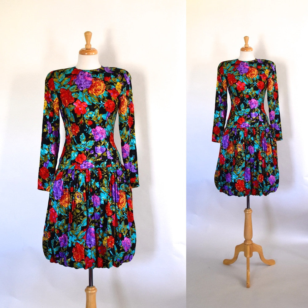 80s Silk Bubble Dress