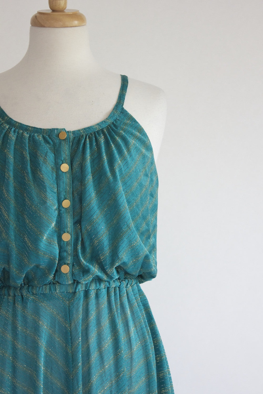 70s sheer Metallic Dress