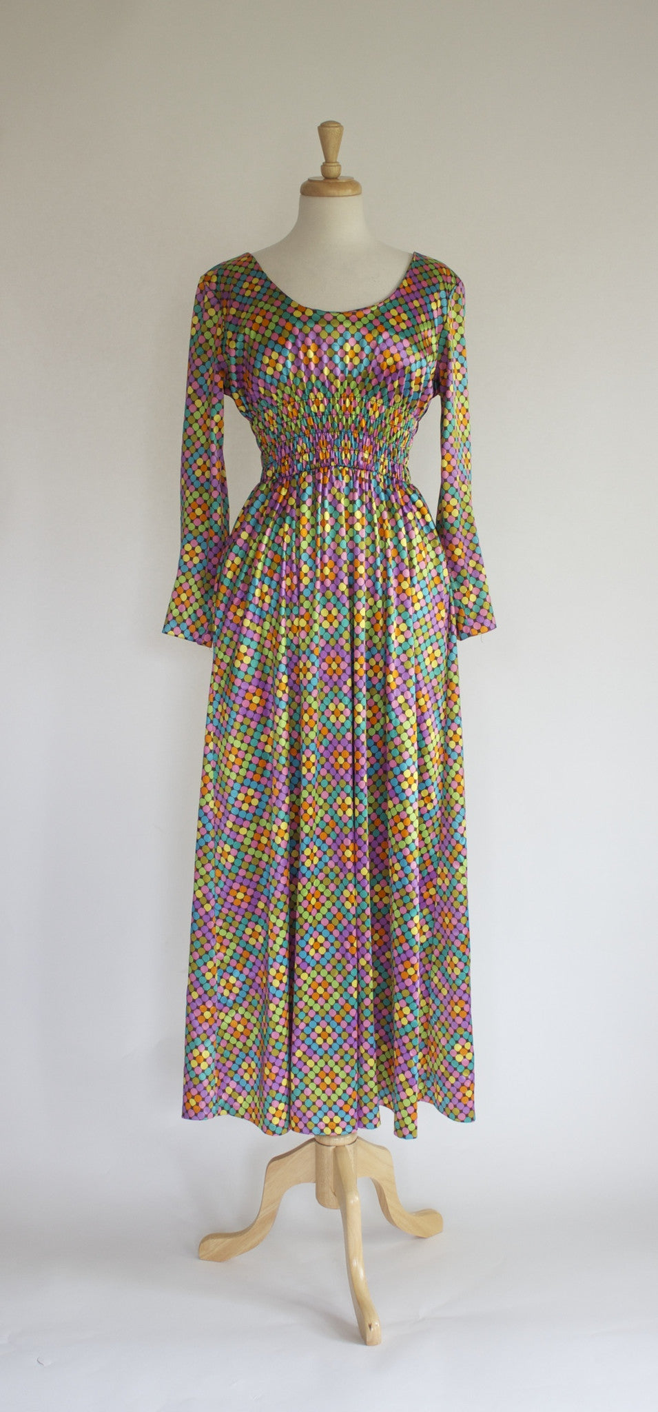 Vintage 70s Harlequin Maxi Dress