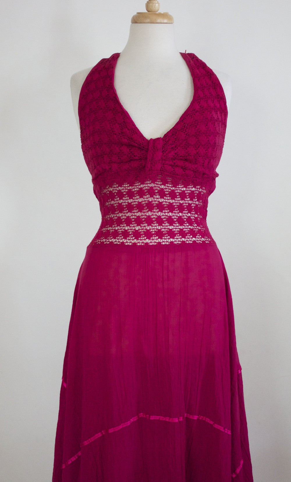 70s crochet halter dress