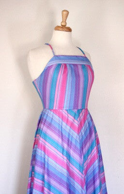 70s chevron print halter dress