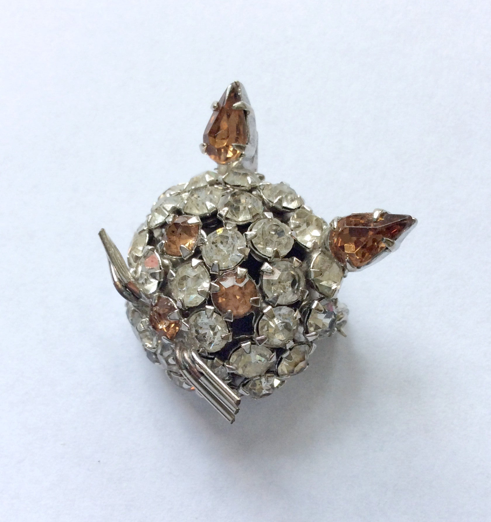Rhinestone Rabbit Brooch
