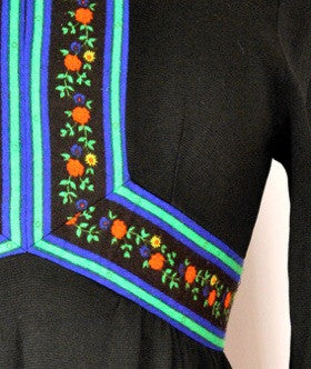 60s Black Folk Dress