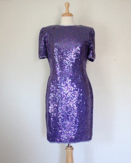 80s purple trophy dress