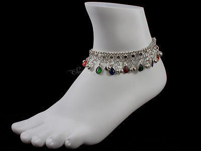 Anklet Silvertone Bells & Cololrful Charms (JW196)
