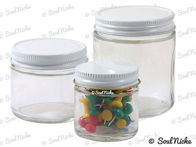 Wide Mouth Straight Sided Glass Jars with Metal Lids