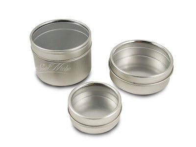 silver window round tin containers shallow or deep