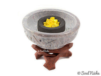 Small Stone Charcoal Incense Burner w/Stand