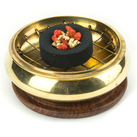 Brass Screen Charcoal Burner with Coaster 3""