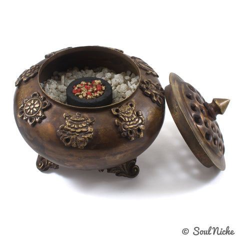 Auspicious Tibetan Charcoal Incense Burner