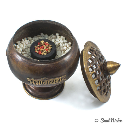 Om Mani Tibetan Charcoal Incense Burner