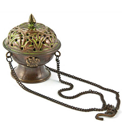 Tibetan Antique Hanging Censer Charcoal Incense Burner - 3.75""