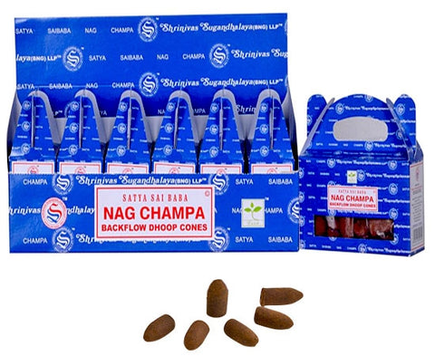 Satya Backflow Incense Cones - Nag Champa (1 Box/24 Cones)