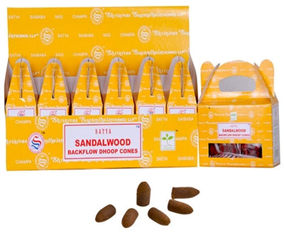 Satya Backflow Incense Cones - Sandalwood (1 Box/24 Cones)