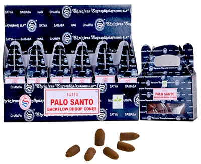 Satya Backflow Incense Cones - Palo Santo (1 Box/24 Cones)