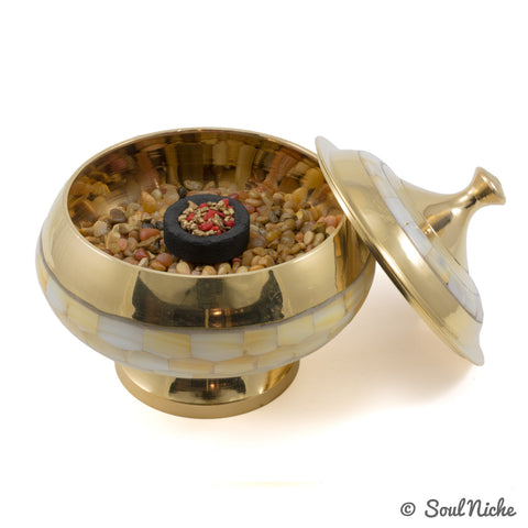 Mother of Pearl Brass Bowl Resin Incense Charcoal Burner