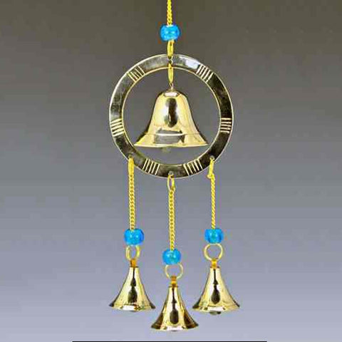 Bell in Ring Brass Wind Chime with Beads