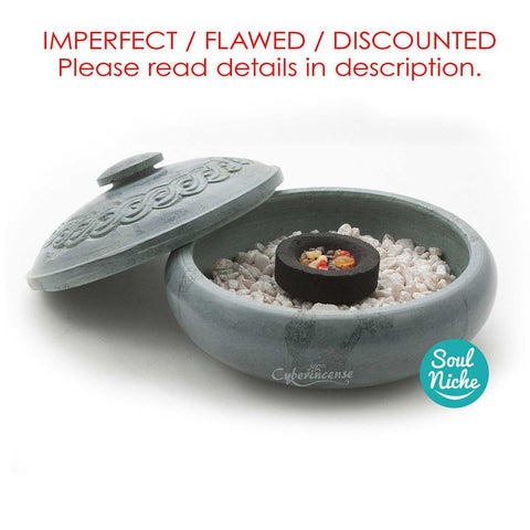 **IMPERFECT FLAWED DISCOUNTED** Green Soapstone Charcoal Incense Burner 503